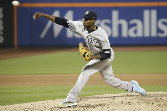New York Yankees starting pitcher Domingo German was placed on administrative leave for the final 18 games of last season. File Photo by John Angelillo/UPI