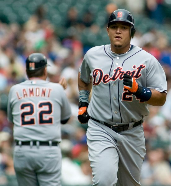 Detriot Tigers' Miguel Cabrera runs towards home plate after hitting a solo home run to left field against the Seattle Mariners' in the second inning at Safeco Field in Seattle July 4, 2008. The Mariners beat the Tigers 4-1. (UPI Photo/Jim Bryant)
