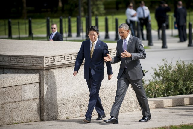 President Barack Obama and Prime Minister Shinzo Abe of Japan visit the Lincoln Memorial in Washington, D.C. on April 27, 2015. Prime Minister Abe is in the Nation's Capital to discuss a range of economic, security, and global issues, including progress on the Trans Pacific Partnership, Japan's expanding role in the Alliance, and climate change. Pool Photo by Pete Marovich/UPI