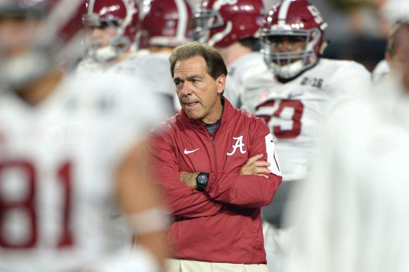Alabama Crimson Tide head football coach Nick Saban. Photo by Jon SooHoo/UPI
