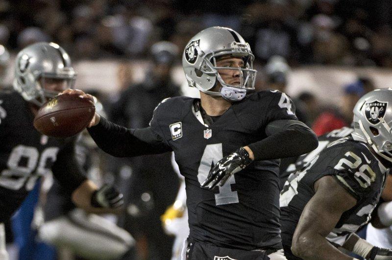 Oakland Raiders quarterback Derek Carr. Photo by Terry Schmitt/UPI