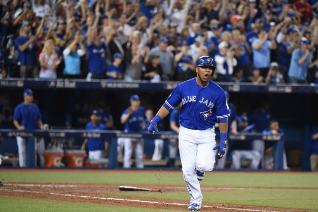 Toronto Blue Jays first baseman Edwin Encarnation, 33, equaled his career best with 42 homers and added 127 RBIs. He will be an appealing player to such teams as the Red Sox and Yankees. Photo by Darren Calabrese/UPI
