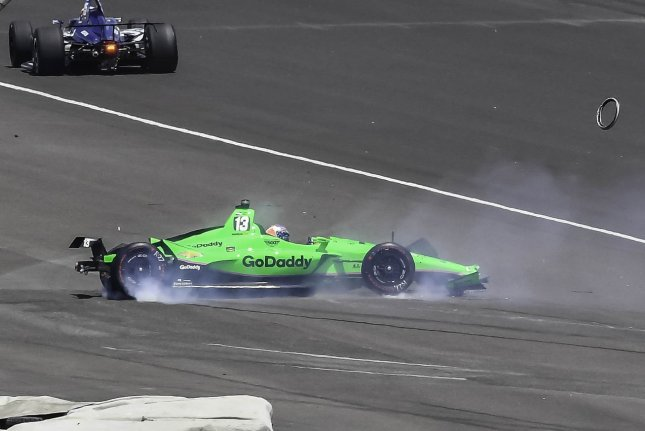 Danica Patrick crashes in turn two on lap 68 during the 102nd running of the Indianapolis 500 Sunday at the Indianapolis Motor Speedway in Indianapolis. Photo by Larry Papke/UPI