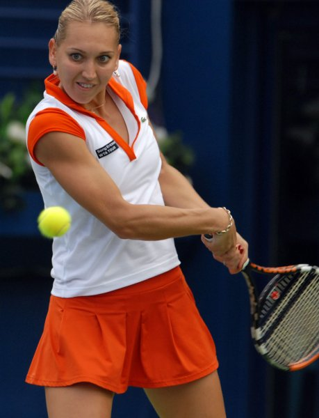 Elena Vesnina, shown in a 2009 file photo, was among second-round winners Wednesday at the Istanbul Cup tennis tournament in Turkey. (UPI Photo/Norbert Schiller)