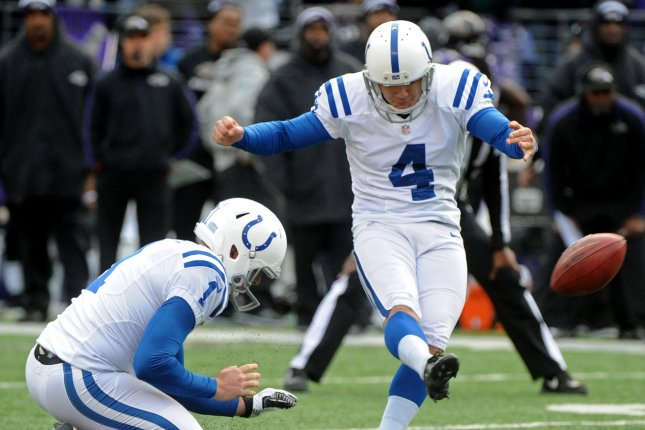 Indianapolis Colts kicker Adam Vinatieri kicks a 47-yard field goal during the second quarter at M&T Bank Stadium. Vinatieri has been re-signed to the Colts in a reported two-year deal. UPI/Kevin Dietsch