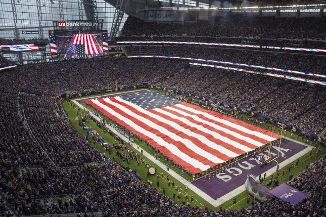 The U.S. flag is seen during the national anthem before the the NFC Divisional round playoff game between New Orleans Saints and Minnesota Vikings on January 14 at U.S. Bank Stadium in Minneapolis, Minn. Photo by Kamil Krzaczynski/UPI