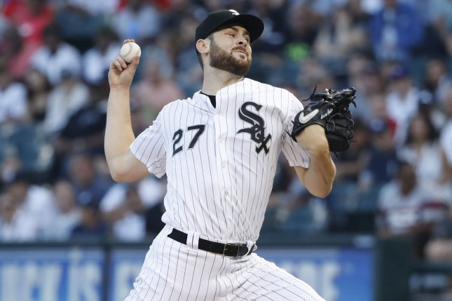 Chicago White Sox starting pitcher Lucas Giolito delivers against the New York Yankees in the first inning on August 8 at Guaranteed Rate Field in Chicago. Photo by Kamil Krzaczynski/UPI