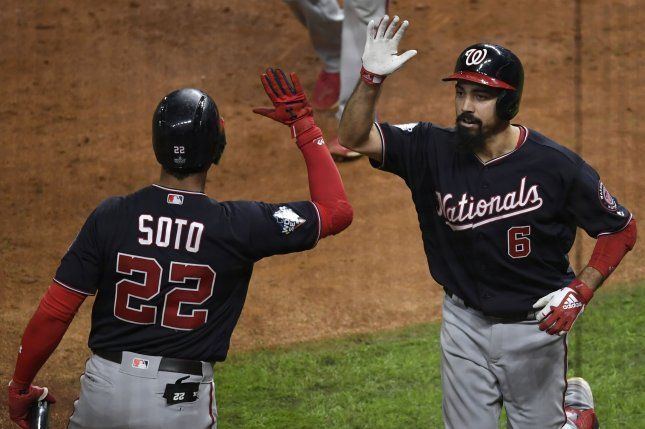 Washington Nationals third baseman Anthony Rendon (6) celebrates with Juan Soto after a two-run home run against the Houston Astros in the seventh inning in Game 6 of the 2019 World Series on Tuesday at Minute Maid Park in Houston. Photo by Trask Smith/UPI