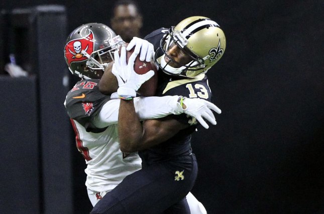 Former Tampa Bay Buccaneers cornerback Vernon Hargreaves (28) was released by the Bucs on Tuesday after he was benched for a lack of hustle during Sunday's game against the Arizona Cardinals. File Photo by AJ Sisco/UPI