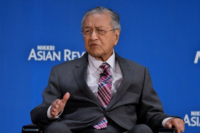 Prime Minister of Malaysia Mahathir Mohamad criticized U.S. President Donald Trump on Saturday and again on Monday. File Photo by Keizo Mori/UPI
