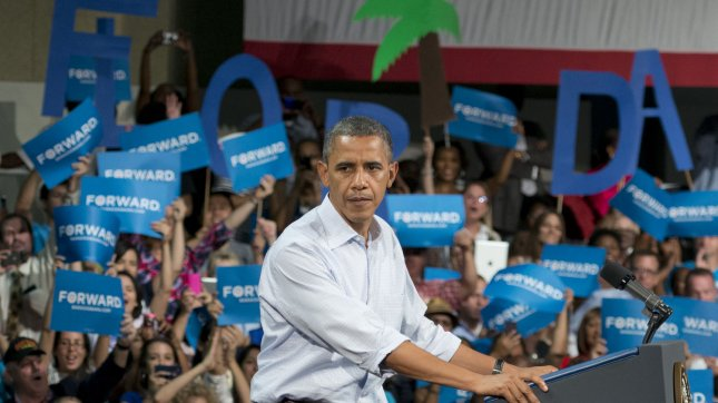 President Barack Obama delivers remarks to more than 6,000 supporters during the last stop of his Florida bus tour to grassroots supporters at the Palm Beach County Convention Center, West Palm Beach, Florida on September 09, 2012. President Obama discussed what's at stake for middle class families in this election along with his plan to continue to restore middle-class security by paying down our debt. UPI/Gary I Rothstein.