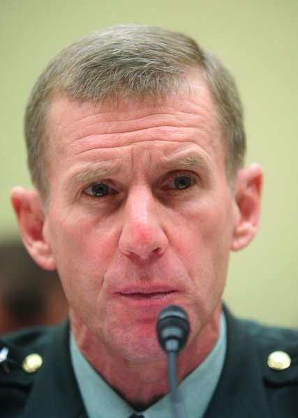 Army Gen. Stanley McChrystal testifies before a House Foreign Relations Committee Hearing on Afghanistan, in Washington on December 10, 2009. UPI/Kevin Dietsch