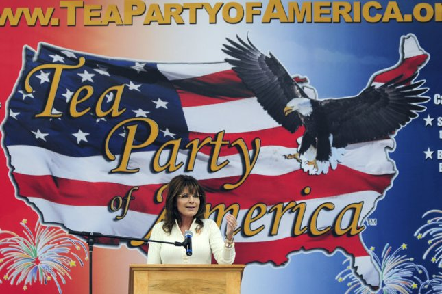 Former Alaskan Gov. Sarah Palin speaks at the Tea Party of America political rally in Indianola, Iowa. UPI/Steve Pope