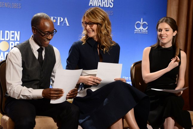 Actors Don Cheadle, Laura Dern and Anna Kendrick prepare to announce the nominees for the 74th annual Golden Globe Awards in Beverly Hills on December 12. Kendrick has been booked as a presenter for the Globes ceremony on Jan. 8. File Photo by Jim Ruymen/UPI