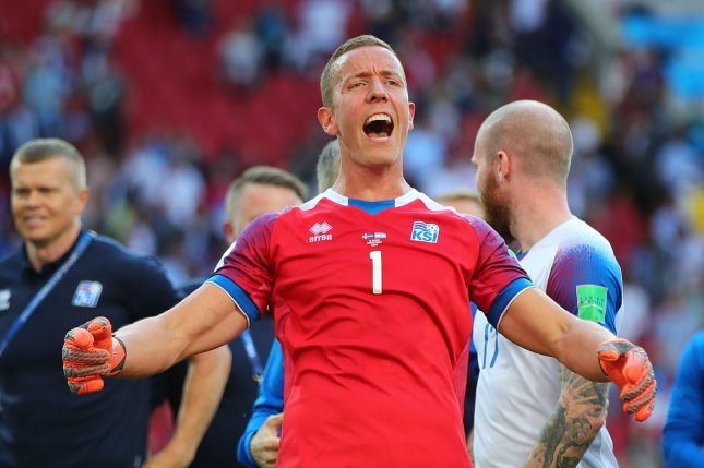 Hannes Halldorsson of Iceland celebrates at full-time following a 2018 FIFA World Cup Group D match Saturday at Spartak Stadium in Moscow. Photo by Chris Brunskill/UPI