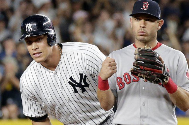New York Yankees star Aaron Judge stands on second base near Boston Red Sox infielder Ian Kinsler in the second inning on Wednesday at Yankee Stadium in New York City. Photo by John Angelillo/UPI