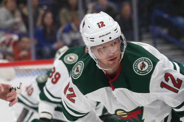 Eric Staal and the Minnesota Wild face the Los Angeles Kings on Thursday. Photo by Bill Greenblatt/UPI