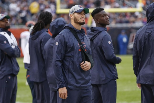 Injured Chicago Bears quarterback Mitchell Trubisky walks on the sideline during the second half against the Minnesota Vikings on Sunday at Soldier Field in Chicago. Photo by Kamil Krzaczynski/UPI