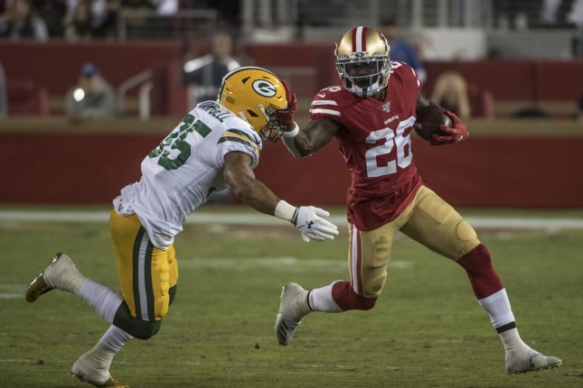San Francisco 49ers running back Tevin Coleman (26) suffered the shoulder injury in the second quarter against the Green Bay Packers on Sunday. He was ruled out for the remainder of the game. File Photo by Terry Schmitt/UPI