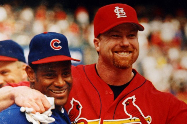Long Gone Summer, a film that details the 1998 home run race between Sammy Sosa (L) and Mark McGwire (R), will air at 9 p.m. EDT June 14 on ESPN. File Photo by Bill Greenblatt/UPI
