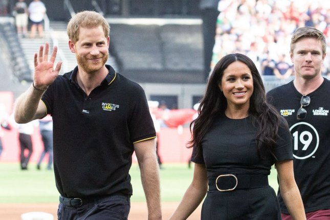 Prince Harry (L) and Meghan Markle will produce and host new podcasts for Spotify through their production company, Archewell Audio. File Photo by Mark Thomas/UPI
