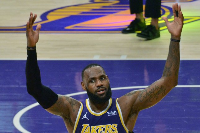 Los Angeles Lakers forward LeBron James is dealing with an ankle injury, but will start against the Golden State Warriors on Wednesday in Los Angeles. File Photo by Jim Ruymen/UPI