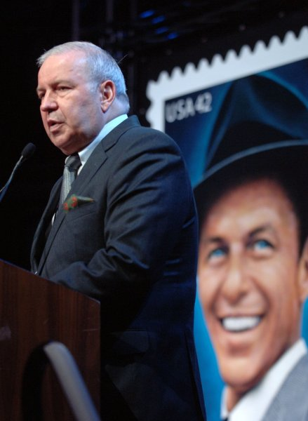 Frank Sinatra Jr. speaks at a U.S.Postal Service ceremony launching a special 42 cent stamp honoring his father Frank Sinatra on the 10th anniversary of his death in New York on May 13, 2008. (UPI Photo/Ezio Petersen)