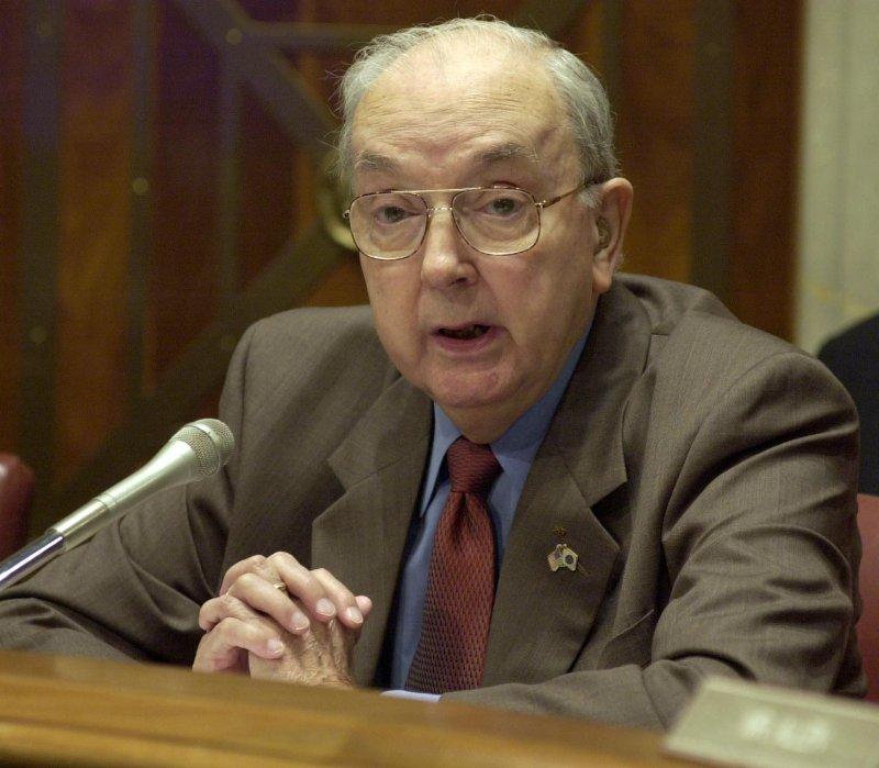 Sen. Jesse Helms seen on this July 24, 2001file photo. (UPI/Roger L. Wollenberg)