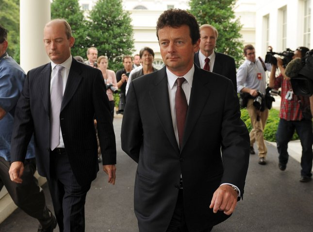 BP CEO Tony Hayward (C), BP Managing Director Bob Dudley (R), and BP America CEO Lamar McKay (L) depart after their meeting with U.S. President Barack Obama at the White House in Washington on June 16, 2010. UPI/Roger L. Wollenberg