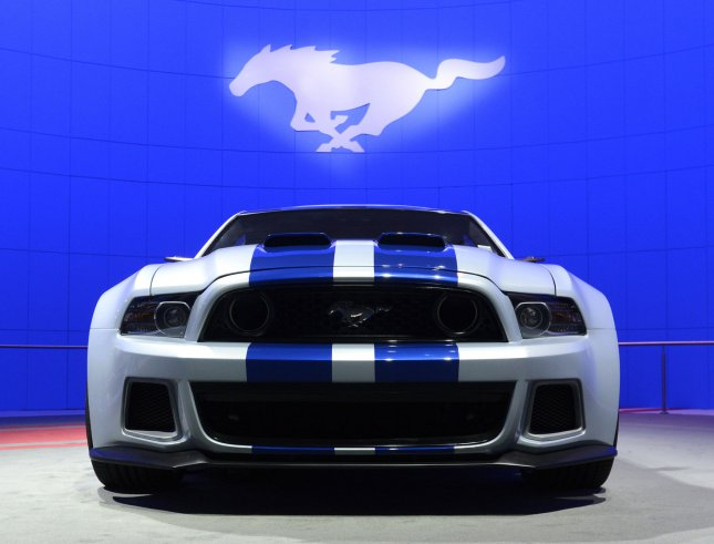 A Ford Mustang featured in the film Need for Speed is on display at the 2013 Los Angeles Auto Show held at the Convention Center in Los Angeles, California on November 20, 2013. UPI/Phil McCarten