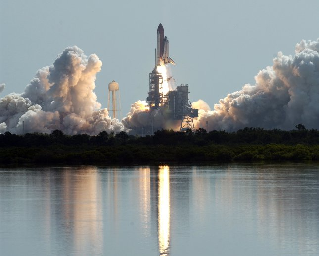 The Space Shuttle Discovery lifts off from Launch Complex 39B on mission STS 114 to the International Space Station at Kennedy Space Center in Cape Canaveral, Florida, on July 26, 2005. This first shuttle mission since the Columbia disaster was originally scheduled for launch in May, but technical glitches delayed the return to human space flight. Photo by Marino-Cantrell/UPI