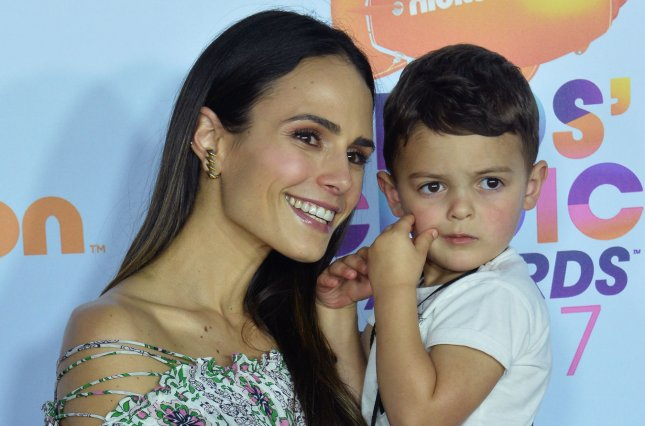 Jordana Brewster and son Julian attend the Nickelodeon Kids' Choice Awards on March 11. The actress starred alongside Paul Walker in five Fast and the Furious films. File Photo by Jim Ruymen/UPI