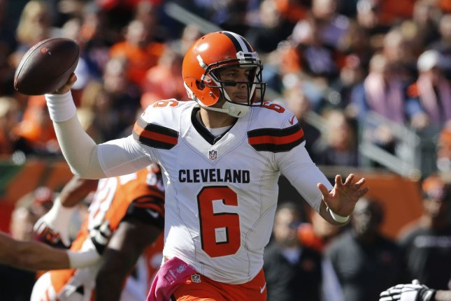 Cody Kessler will begin off-season workouts as the Browns' starter according to head coach Hue Jackson. File photo by John Sommers II/UPI