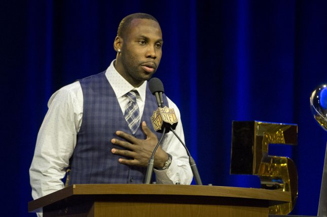 Walter Payton NFL Man of the Year Award finalist Anquan Boldin speaks to the press at the media center for Super Bowl 50 in San Francisco, Calif. Boldin is currently looking to sign with a new team before training camp next week. File photo by Terry Schmitt/UPI