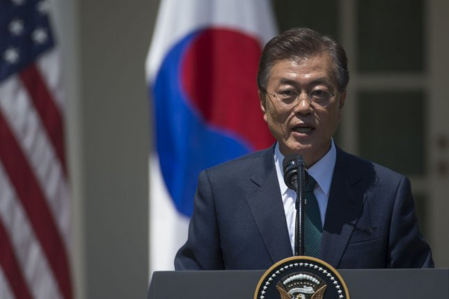 South Korean President Moon Jae-in favors additional THAAD deployment, but the announcement prompted a warning from China's state news agency on Friday. Photo by Molly Riley/UPI
