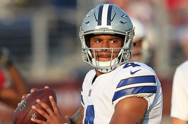 d320c6bac3a Dallas Cowboys Dak Prescott throws prior to the start of the Pro Football  Hall of Fame Game against the Arizona Cardinals at Tom Benson Hall of Fame  Stadium ...