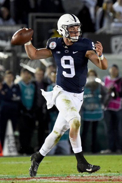 Trace McSorley and the Penn State Nittany Lions scored on the final play to down the Iowa Hawkeyes on Saturday. Photo by Juan Ocampo/UPI