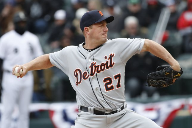 Detroit Tigers starting pitcher Jordan Zimmermann delivers against the Chicago White Sox in the first inning on April 5 at Guaranteed Rate Field in Chicago. Photo by Kamil Krzaczynski/UPI