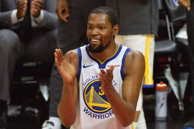 Golden State Warriors forward Kevin Durant drained two 3-pointers in the opening minutes of the first quarter in Game 6. Durant hadn't played since Game 5 of the Western Conference semifinals. File Photo by Jim Ruymen/UPI
