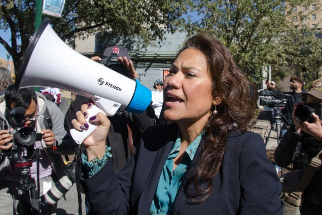 Rep. Veronica Escobar, the Democratic congresswoman from El Paso, Texas, speaks out against Trump's proposed border wall during a march in January. File Photo by Natalie Krebs/UPI