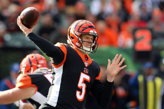 Cincinnati Bengals quarterback Ryan Finley throws under pressure from the Pittsburgh Steelers defense during the first half of play Sunday at Paul Brown Stadium in Cincinnati, Ohio. Photo by John Sommers II/UPI