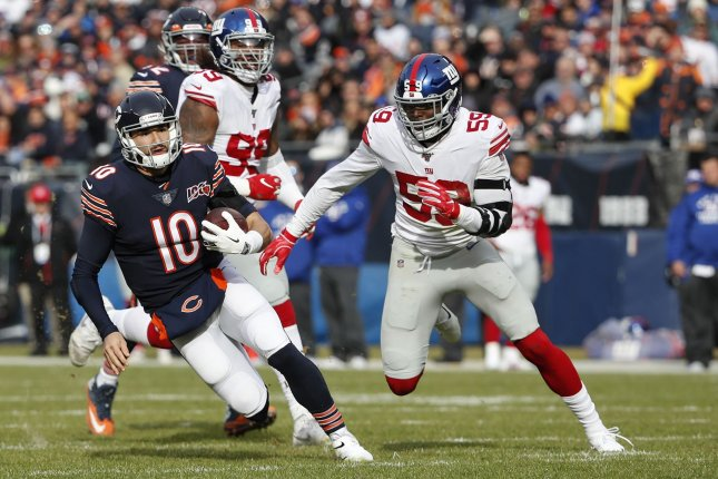 New York Giants linebacker Lorenzo Carter (59) suffered the Achilles injury during Sunday's game against the Dallas Cowboys. File Photo by Kamil Krzaczynski/UPI