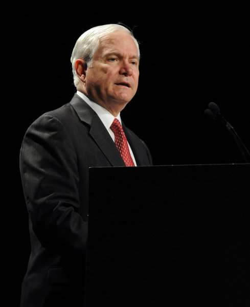Secretary of Defense Robert Gates speaks at an event in Maryland May 3, 2010. UPI/Roger L. Wollenberg