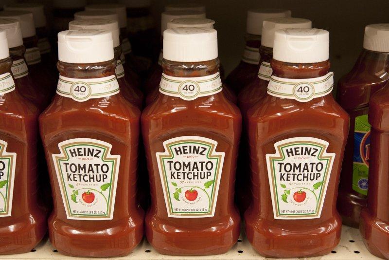 Heinz Ketchup bottles on a supermarket shelf. File Photo by Gary C. Caskey/UPI