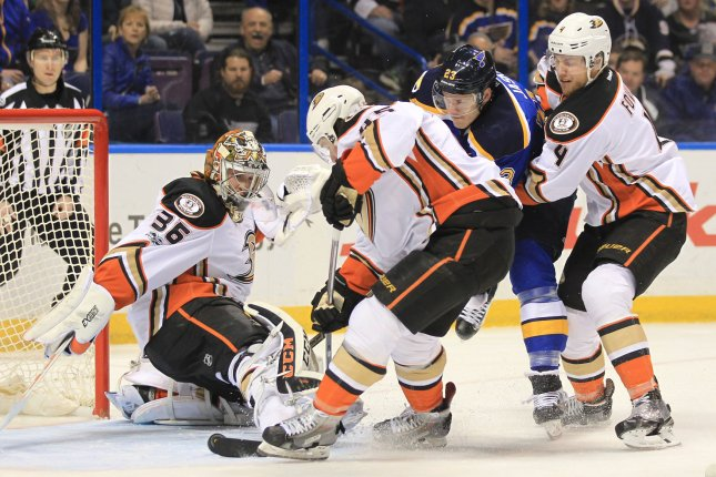 Andrew Cogliano and Patrick Eaves scored two minutes apart early in the third period to give the Anaheim Ducks a 6-3 win over the New York Rangers on Sunday night at the Honda Center. File Photo by Bill Greenblatt/UPI