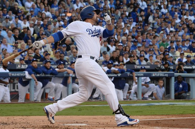 Los Angeles Dodgers' Adrian Gonzalez flies out to the Chicago Cubs. File photo by Jim Ruymen/UPI