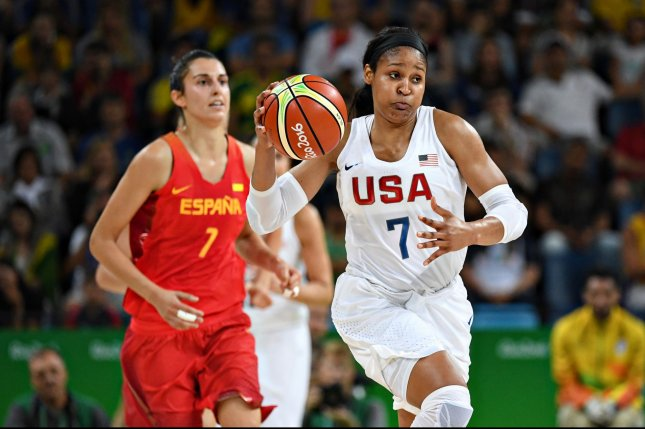 Maya Moore, shown here with the U.S. women's Olympic basketball team, gave a strong showing in the WNBA All-Star Game on Saturday. Photo by Richard Ellis/UPI