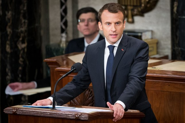 French President Emmanuel Macron said it's likely President Donald Trump will withdraw from the Iran nuclear accord for domestic policy reasons. Photo by Erin Schaff/UPI