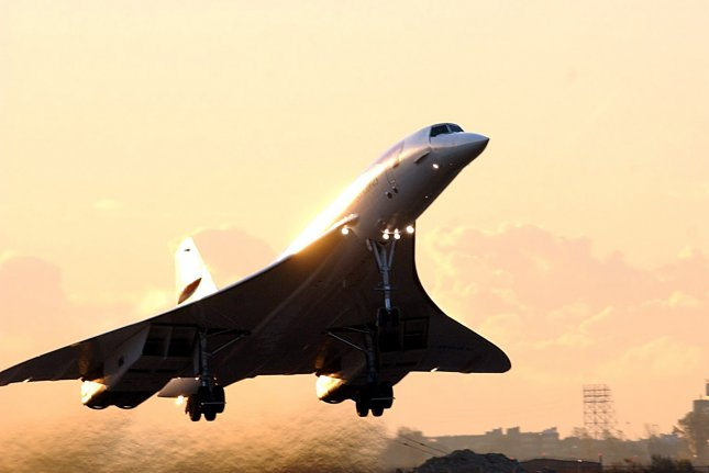 The final British Airways Concorde flight takes off from New York's JFK International Airport to return to London's Heathrow Airport on October 24, 2003. British Airways retired the supersonic Concorde fleet after 27 years of service. File Photo by Ezio Petersen/UPI