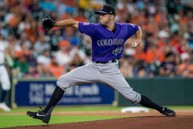 Colorado Rockies starting pitcher Tyler Anderson pitches against the Houston Astros in the first inning on August 15, 2018 at Minute Made Park in Houston. Photo by Trask Smith/UPI